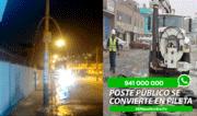 Reportero Ciudadano: Insólito, poste público se convierte en pileta